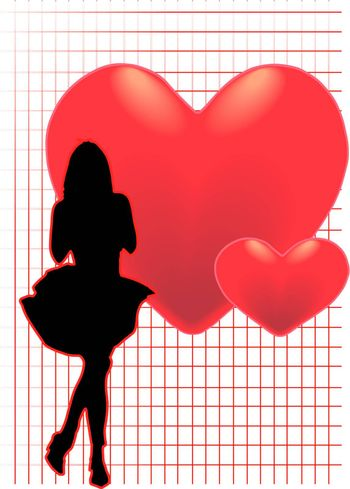 A vector illustration of a woman standing in front of hearts