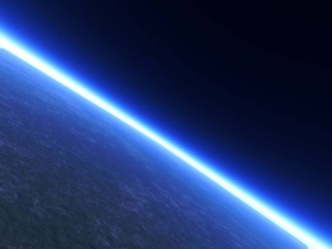 A Planets Horizon line viewed from space. 3D rendered Illustration.