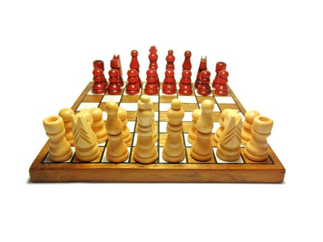 Chess game with figure on white background