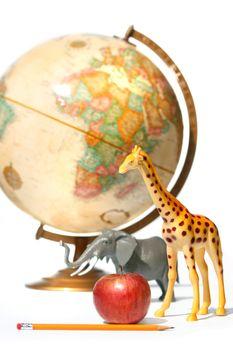 Globe with toys animals on white