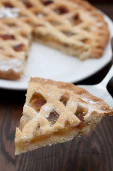 Slice of freshly baked apple pie