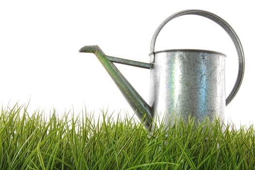 Watering can in grass
