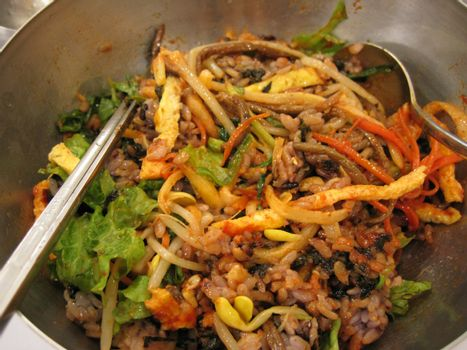 a kind of korean food - mixture rire with vegetables