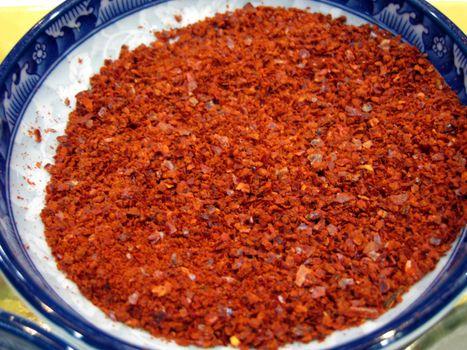 close up for korean chili powder for ingredient kimchi