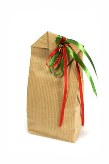 brown gift bag with ribbons