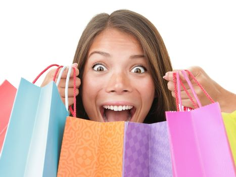 Shopping woman excited