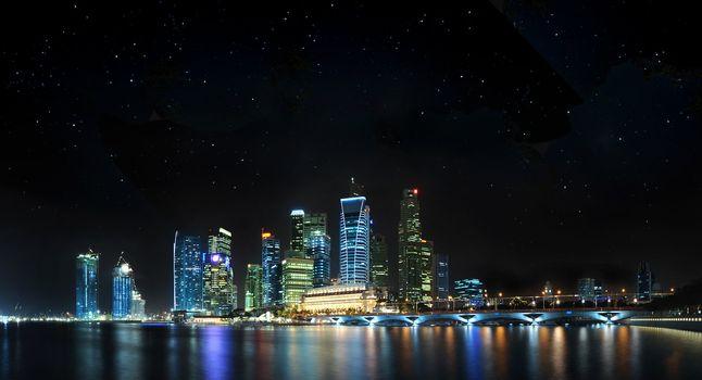 Singapore Panoramic with stars