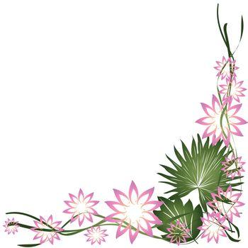 Floral frame, border on white background