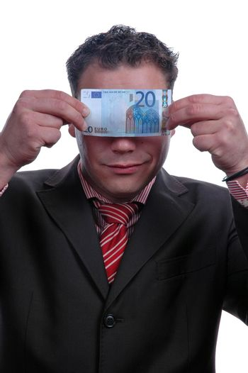 blind businessman showing money, isolated over white