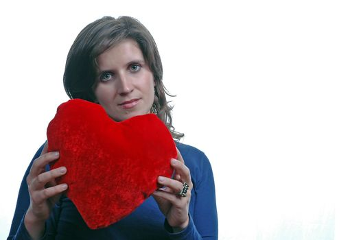 young woman holding heart of valentine day