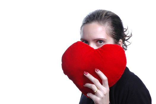 beautiful woman portrait with red heart