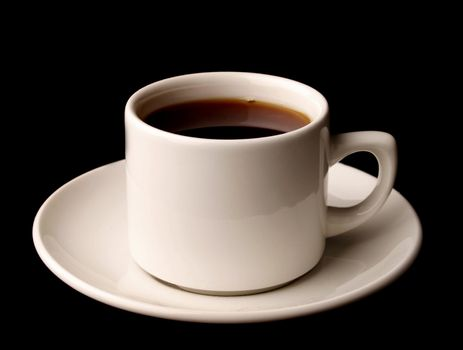 Cup of coffee isolated over black background