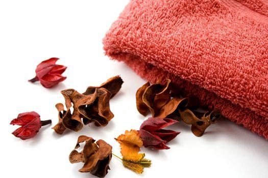 orange towel and flowers