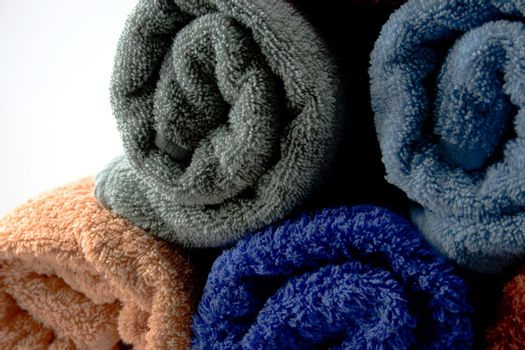 colorefull towels over white background