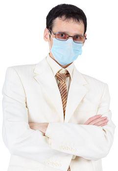 Businessman in sterile medical mask
