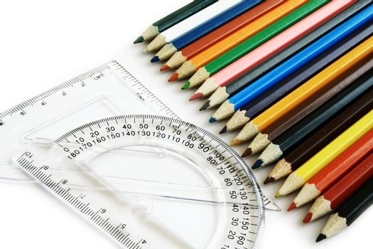 Rulers and color pencil