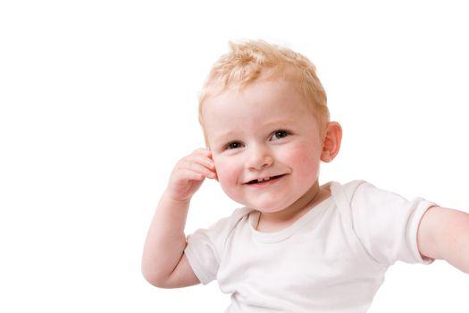 Happy blond child