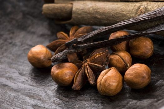 aromatic spices with brown sugar and nuts