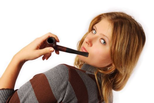 Pretty blond girl smoking pipe, isolated on white