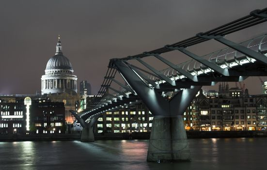 View at Millenium bridge and St. Paul catherdal in London in the night