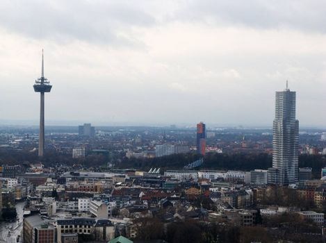 Cityscape of Cologne (Germany) photographed from Cologne Cathedral.