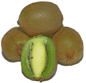 A few kiwi with slice on front