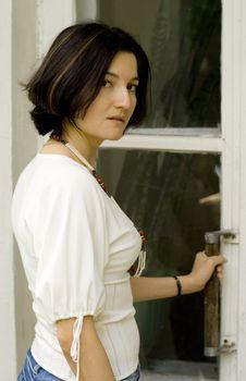 woman opening the door