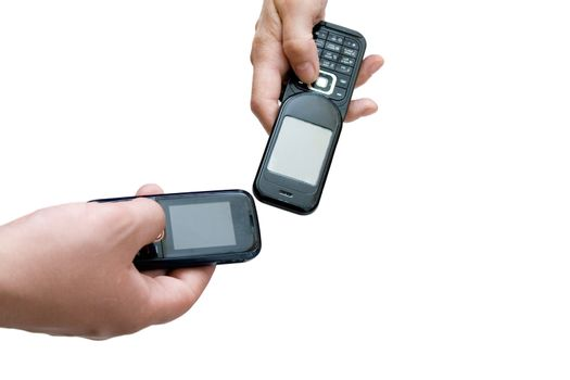 two mobile phones in hands