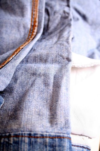 Closeup of an inside-out turned Jeans.