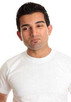 Apprehensive man wincing dilemma problem