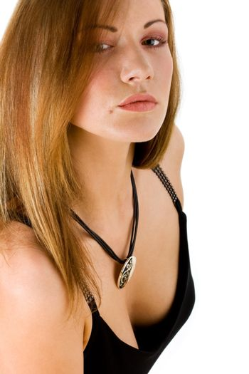 Mysterious young woman with a pendant