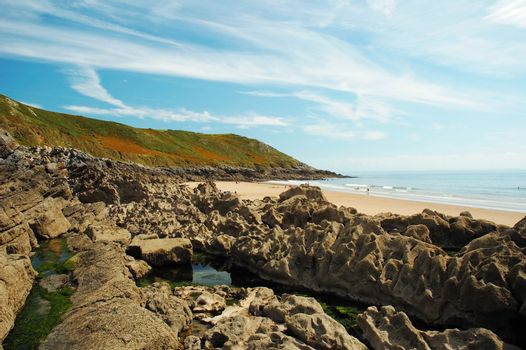 coast of Swansea in Wales with blue sky