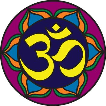 Om Symbol illustration with a stained glass look.