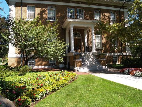 exterior and landscaping for an historic brick building