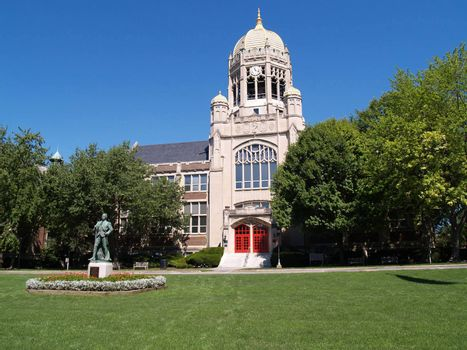 Haas College Center with the bell tower at Muhlenberg College in Allentown, Pennsylvania