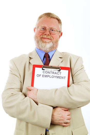 Senior businessman is holding a contract of employment