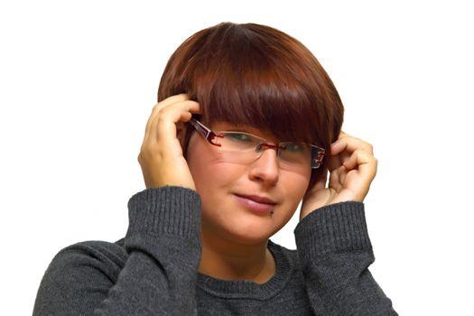 Young woman having a headache. Shot in studio.