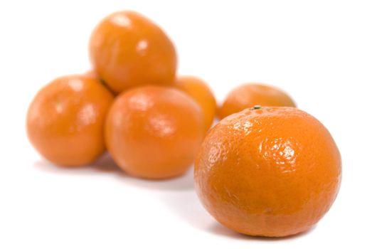 tangerines over white background