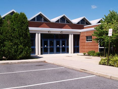 exterior entrance for a modern school