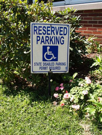 reserved parking sign for a disability