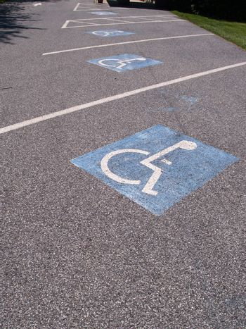painted wheelchair symbol for a handicapped parking spot