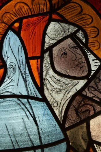 Stained glass with woman portrait
