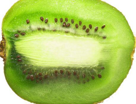 A close-up macro fresh green kiwi