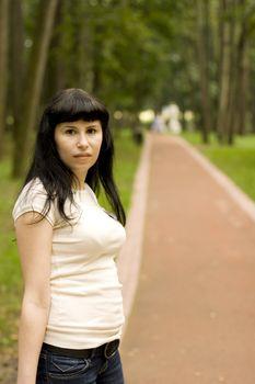 girl walking in the park