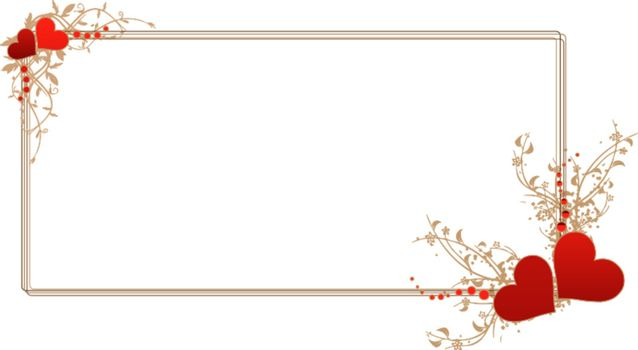 Vector illustration of a rectangular horizontal frame adorned with red hearts and intricate floral arabesque patterns