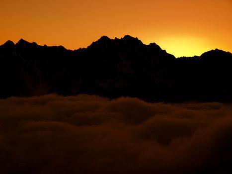 Mountains. Sunset. Caucasus, Kabardino-Balkariya, Bezengi