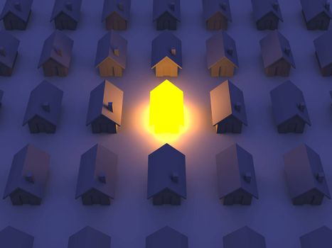 3D rendered Illustration. An illuminated Toy House...