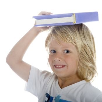 a young professor with a book on his head