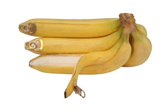 bananas with aluminum cotter on skin isolated on white background �