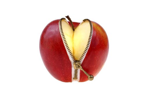 large apple with metal zip isolated on white background